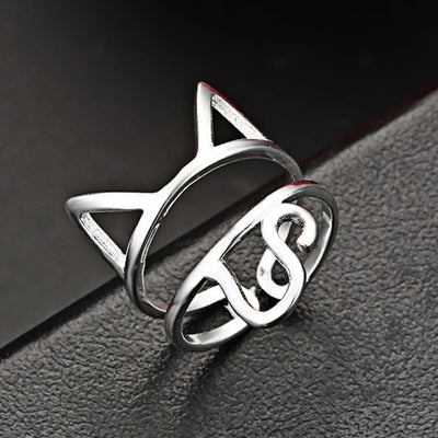 Silver cat ring, adjustable