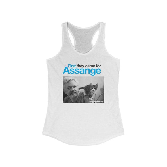 First they came for Assange - Women's Ideal Racerback Tank - WikiLeaks Shop