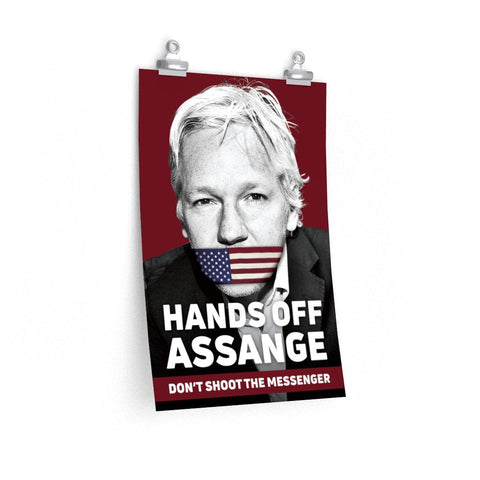 Hands off Assange — Don't shoot the messenger poster - WikiLeaks Shop