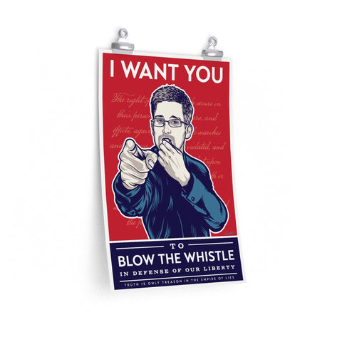 Edward Snowden - Blow the whistle - Poster - WikiLeaks Shop