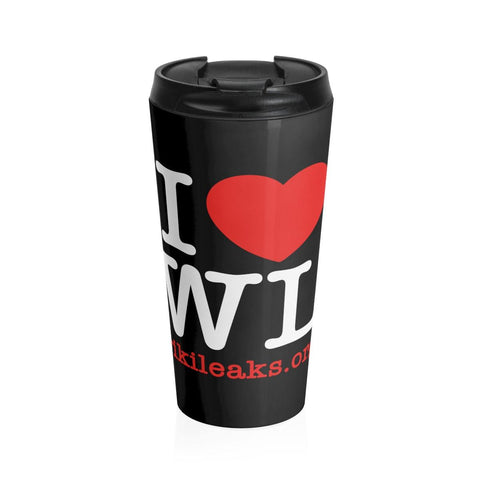 I Love WikiLeaks - Stainless Steel Travel Mug - WikiLeaks Shop