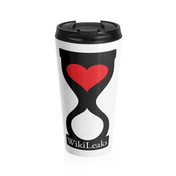 WikiLeaks Heart Hourglass Stainless Steel Travel Mug - WikiLeaks Shop
