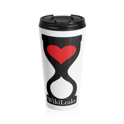 WikiLeaks Heart Hourglass Stainless Steel Travel Mug