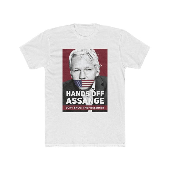 Hands Off Assange - Don't Shoot the Messenger - Premium Fitted Tee