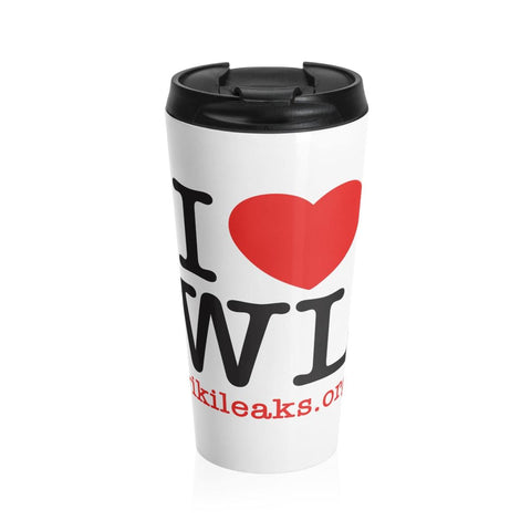 I Love WikiLeaks - White Stainless Steel Travel Mug - WikiLeaks Shop