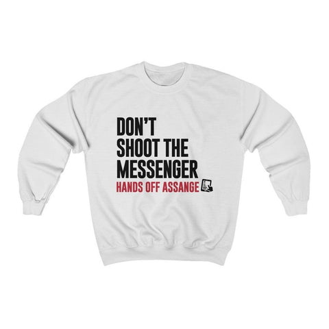 Don't Shoot the Messenger - Hands Off Assange - Unisex Crewneck Sweatshirt - WikiLeaks Shop