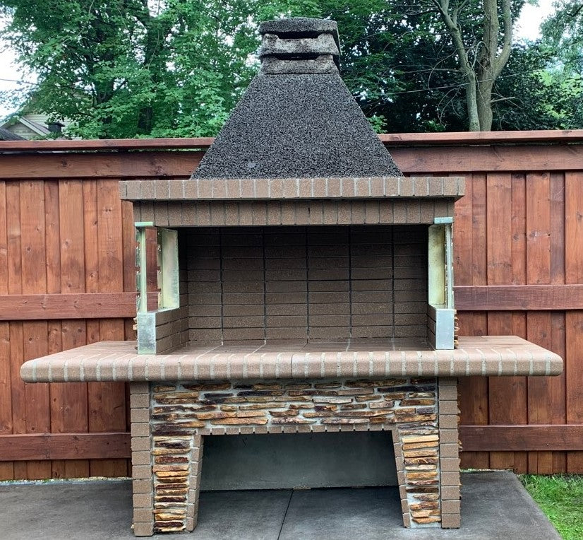 Large Fire Brick Charcoal BBQ & Rotisserie with Stone