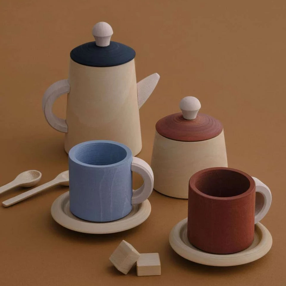 TERRACOTTA & BLUE TEA SET