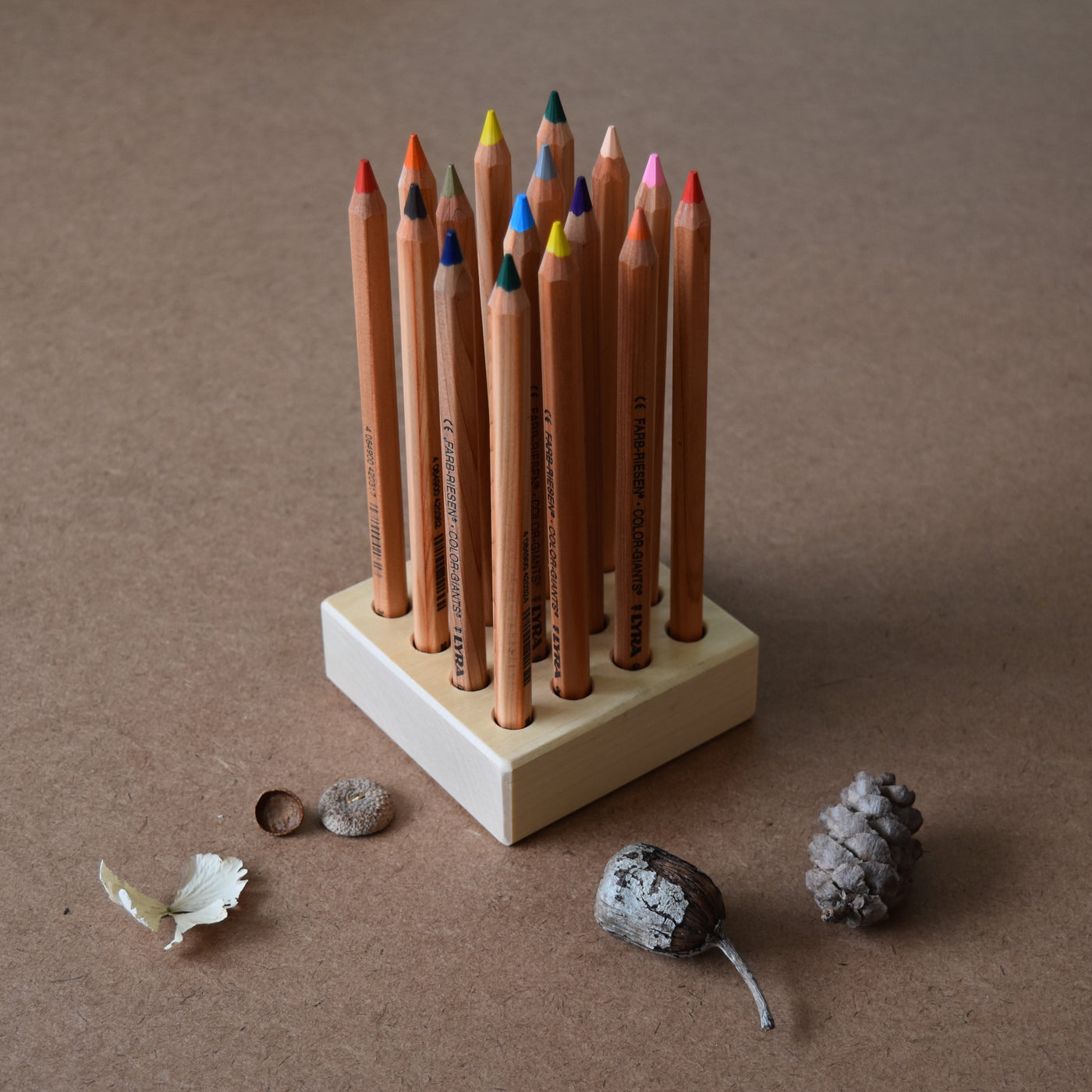 WOODEN PENCIL HOLDER ~ 16 holes