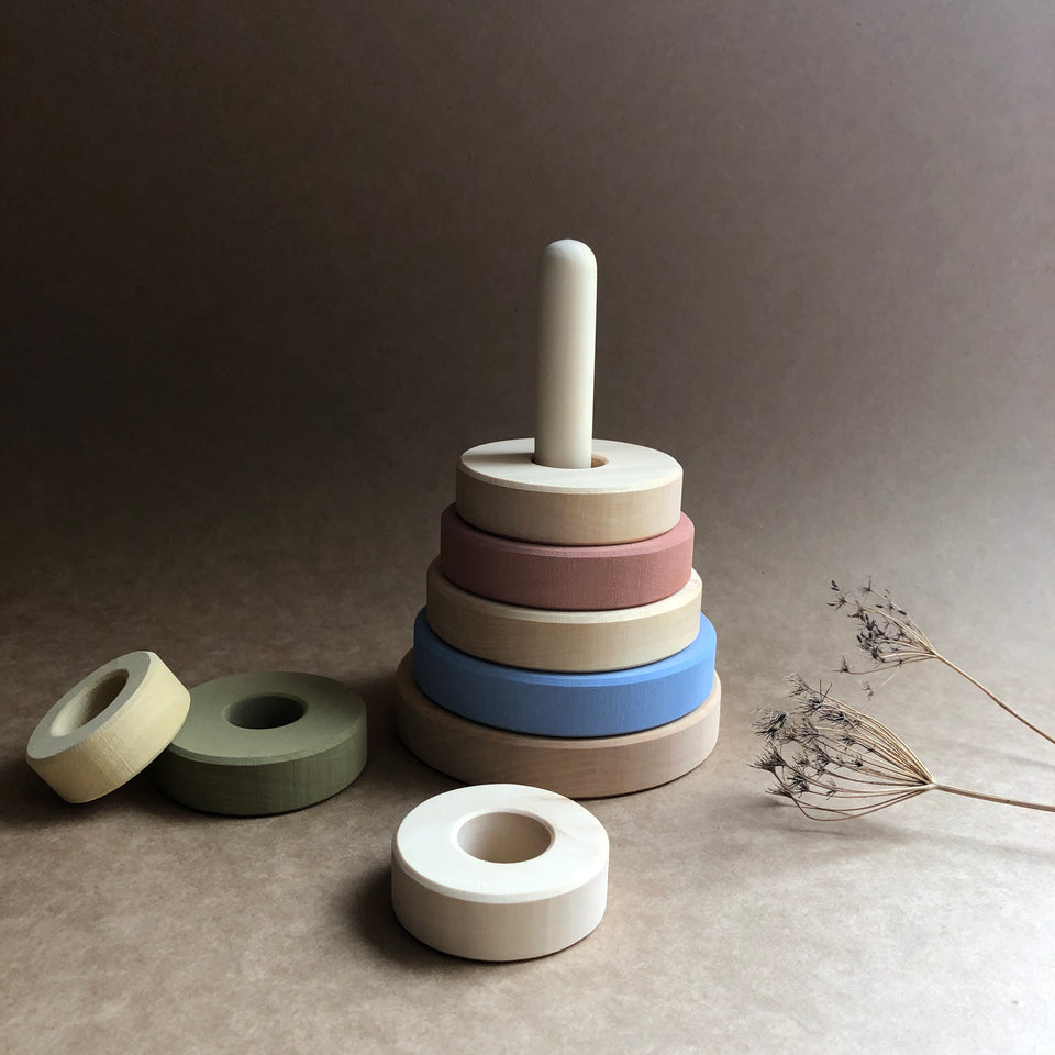WOODEN STACKING TOWER ~ Pastel