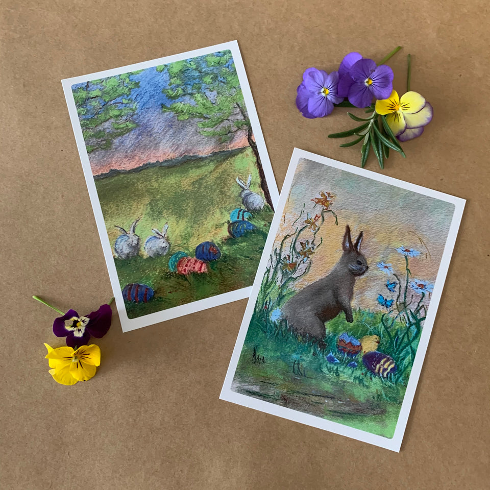 EASTER BUNNIES POSTCARD ~ MARGARET HUNT