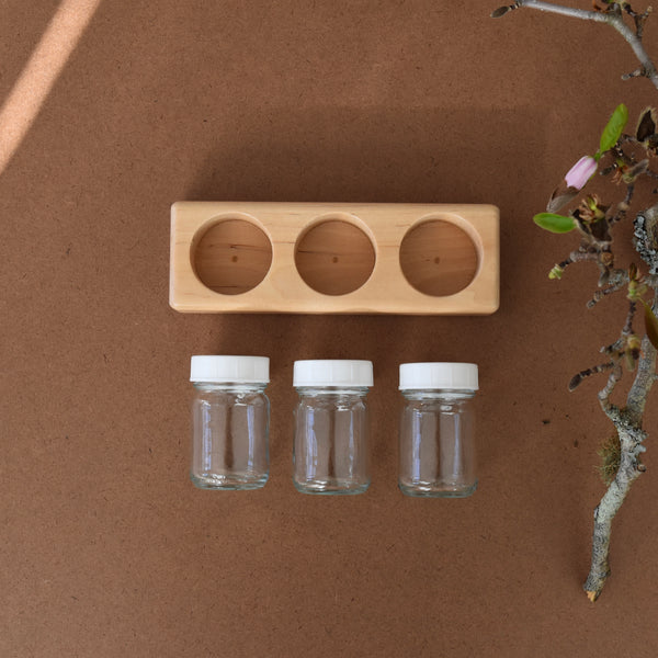 WOODEN PAINT TRAY SET ~ 3 HOLES