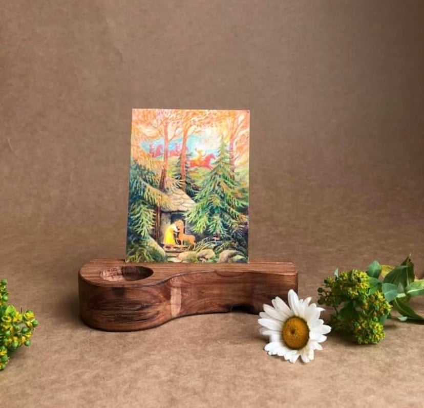 HANDCRAFTED WOODEN POSTCARD AND CANDLE HOLDER
