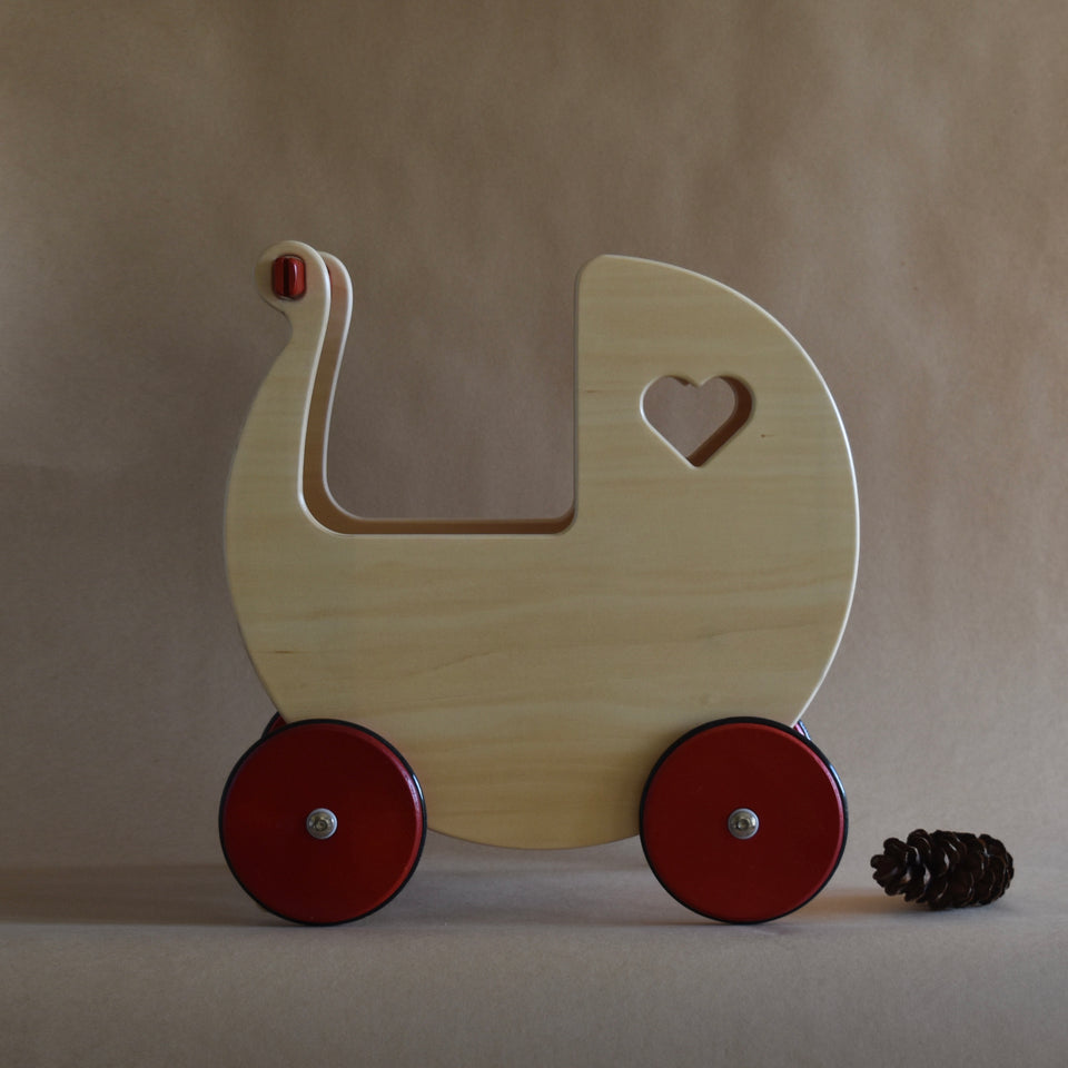 WOODEN DOLLS PRAM ~ NATURAL