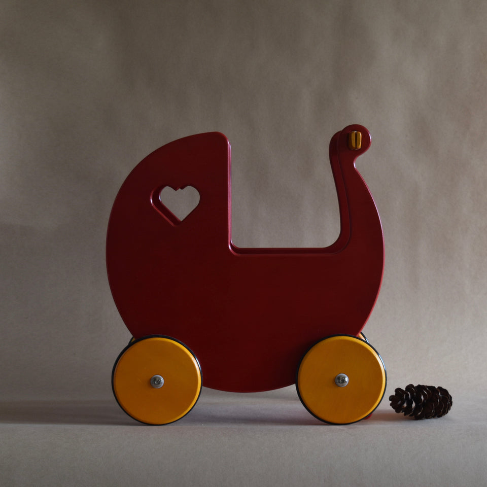 WOODEN DOLLS PRAM ~ RED