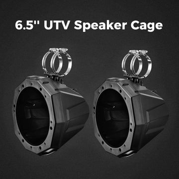 "UTV 6.5"" Speaker Cage Swivel Pods Speaker Enclosure with1.75 to 2"" Mounting Clamps Polaris RZR 900 1000 Can Am Maverick X3 Commander Defender"