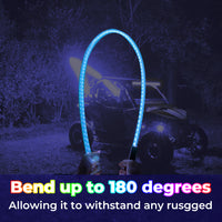 ATV UTV LED Whip Lights 5FT RGB (Please check the quantities in the options!) - Kemimoto