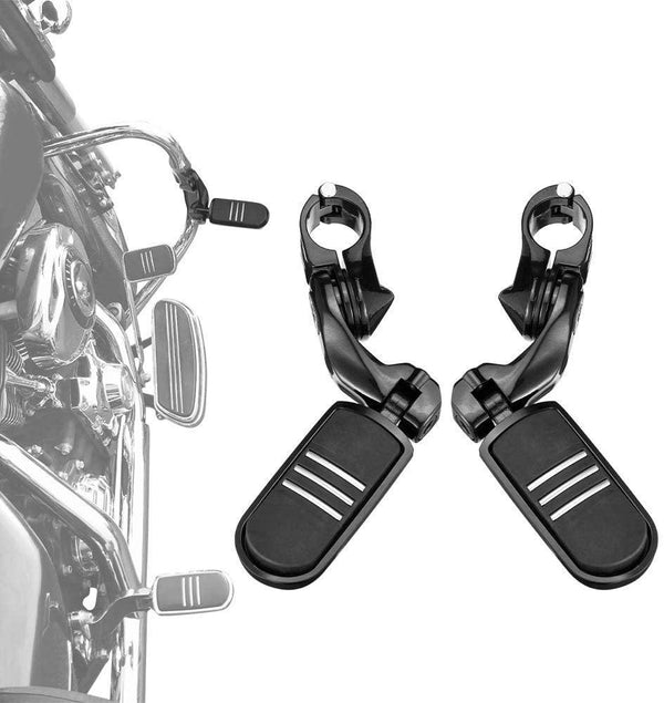Sliver / Black Motorcycle Highway Pegs, 1.25 inch Foot Peg for Harley - Kemimoto