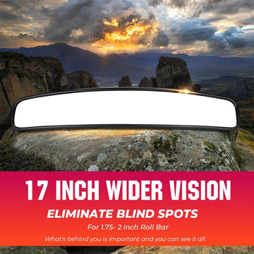"17"" Wider Universal UTV Center Rearview Mirror For 1.75-2 inch Roll Bar"