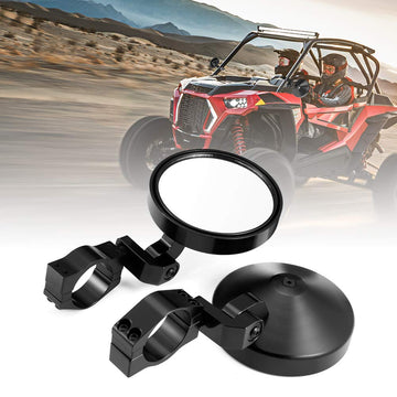 "Polaris RZR Can Am Maverick Round Side 1.75""-2"" Rear View Mirrors"