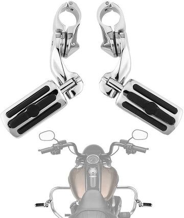 Sliver / Black Motorcycle Highway Pegs for Harley with 1.25 Engine Guard