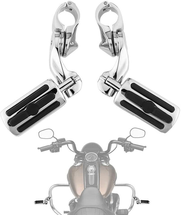 Sliver / Black Motorcycle Highway Pegs for Harley with 1.25 Engine Guard - Kemimoto