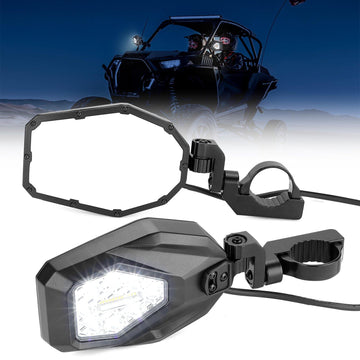 "UTV Mirrors with LED Turn Signal Lights (New Design) for 1.6""-2"" Roll Bar"