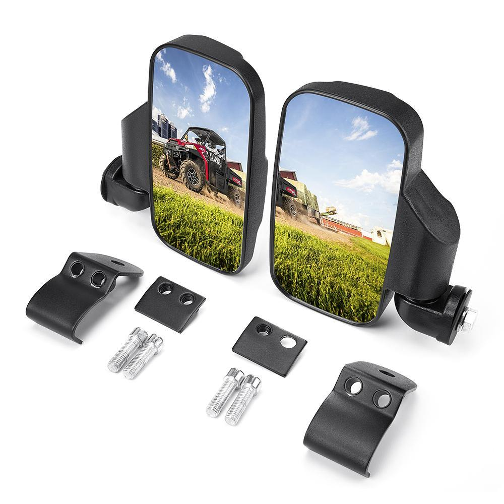 (Start Shipping in the Late February) Adjustable Break Away UTV Side Mirrors Compatible with Polaris Ranger & Can-Am Trail Defender - KEMIMOTO