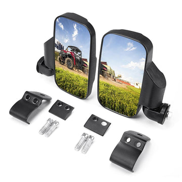 Adjustable Break Away UTV Side Mirrors Compatible with Polaris Ranger & Can-Am Trail Defender