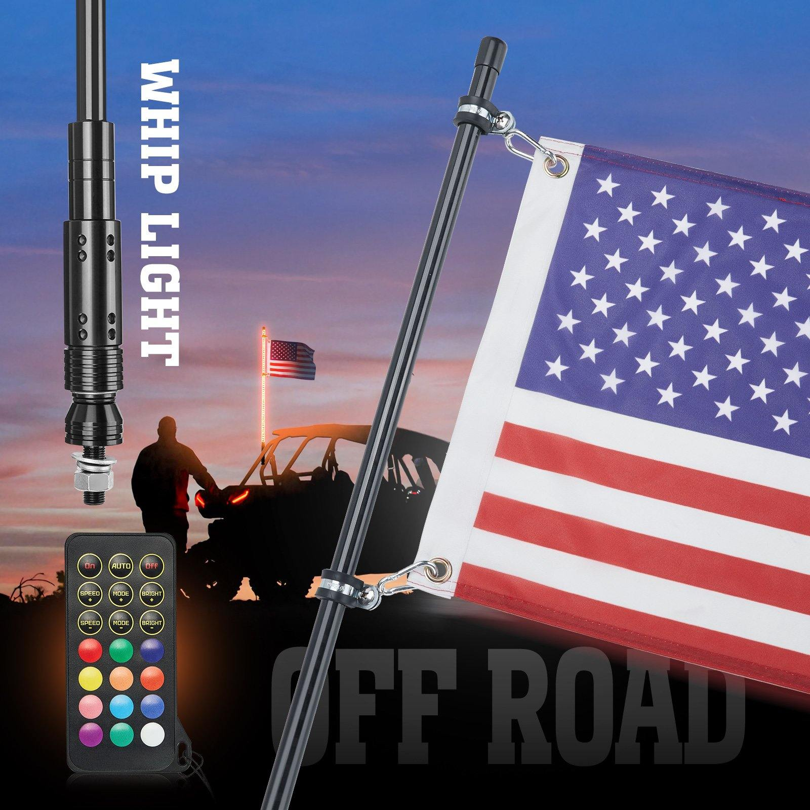 Black LED Whip Light with RF Remote Control with USA Flag - KEMIMOTO