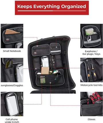 Tour Pack Lid Organizer [Upgrade Version] For Harley