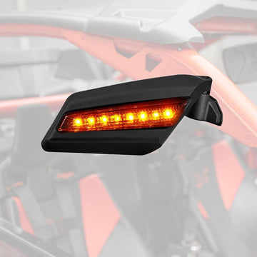 2017 2018 2019 Can Am Maverick X3 Rear View Side Racing Side Mirrors with Flashing Strobe Amber Marquees Light