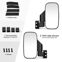 "UTV 1.5"" - 2"" Side View High Impact Convex Mirror - Kemimoto"