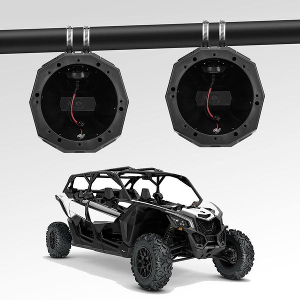 "UTV 6.5"" Speaker Cage Swivel Pods Speaker Enclosure with1.75 to 2"" Mounting Clamps Polaris RZR 900 1000 Can Am Maverick X3 Commander Defender - KEMIMOTO"