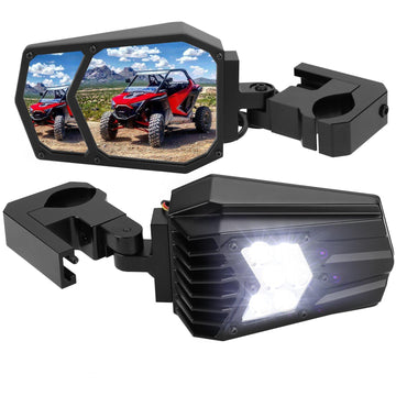 "Universal UTV LED Light Mirror (New design) Fits 1.5"" - 2"" Roll Bars"