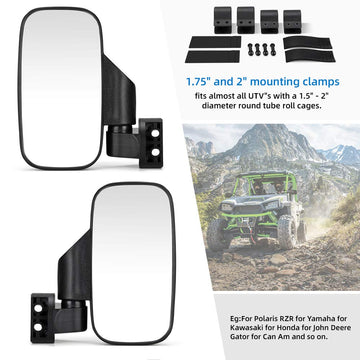"UTV 1.5"" - 2"" Side View High Impact Break Away Convex Mirror"