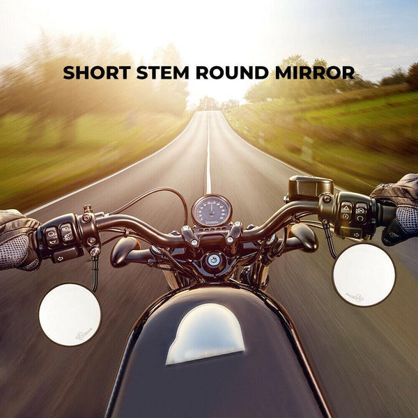 Short Stem Round Mirrors For Harley - KEMIMOTO