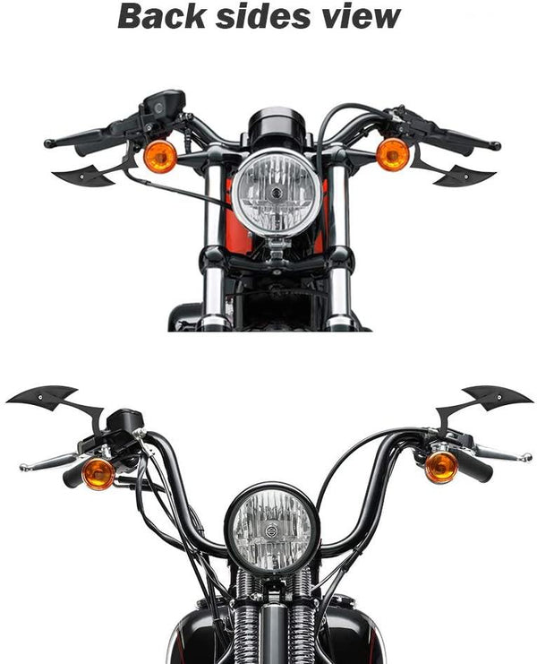 Black Side Mirrors For Harley - KEMIMOTO