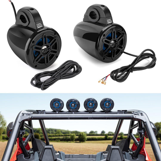 "(Discount for 2 Pairs) UTV Bluetooth Speakers Roll Bar Stereo System fits 1.65"" - 2"" Roll Cage (2 Pairs) - KEMIMOTO"