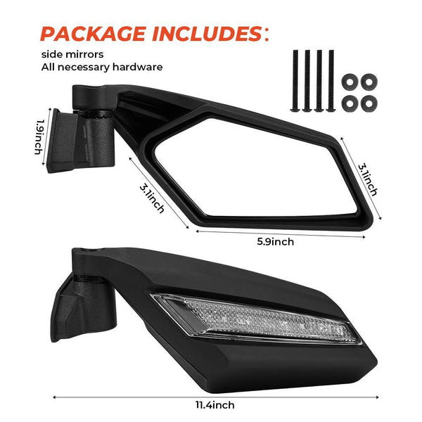 2017 2018 2019 Can Am Maverick X3 Rear View Side Racing Side Mirrors with Flashing Strobe Amber Marquees Light - Kemimoto