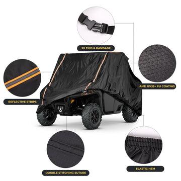 210D Oxford Cubic Lattice Black 2 Car Door Defender Cover