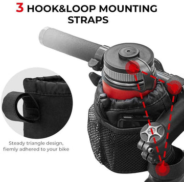 kemimoto 3-Straps Bike Water Bottle Holder with Tighter Buckle, Bicycle Handlebar Cup Holder Drink Holder with Mesh Pockets