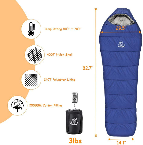 Mummy Sleeping Bag, Camping Sleeping Bag Portable and Lightweight for Family Camping, Travel, Hiking, Indoor and Outdoor Use with Compression Sack - Kemimoto