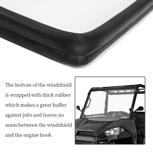 UTV Windshield Scratch Resistant Ranger Windshield for Polaris Ranger Midsize 500 570 ETX EV 2015-2019 (Only Ship to USA) - Kemimoto
