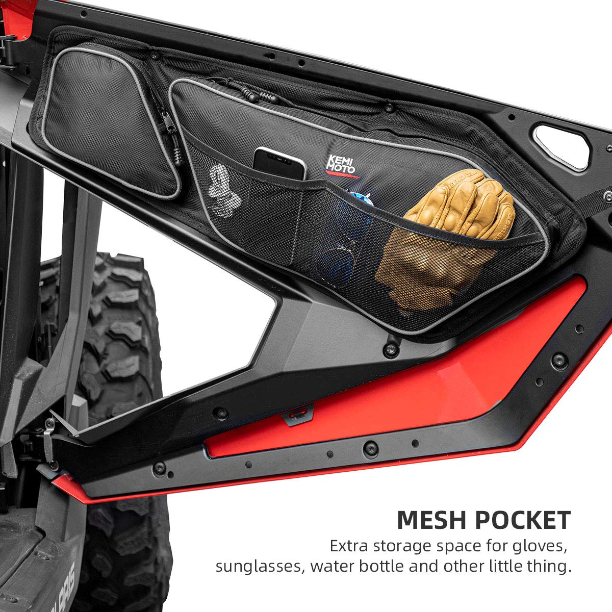 Polaris RZR PRO XP Front Door Bag with Removable Knee Pad - Kemimoto