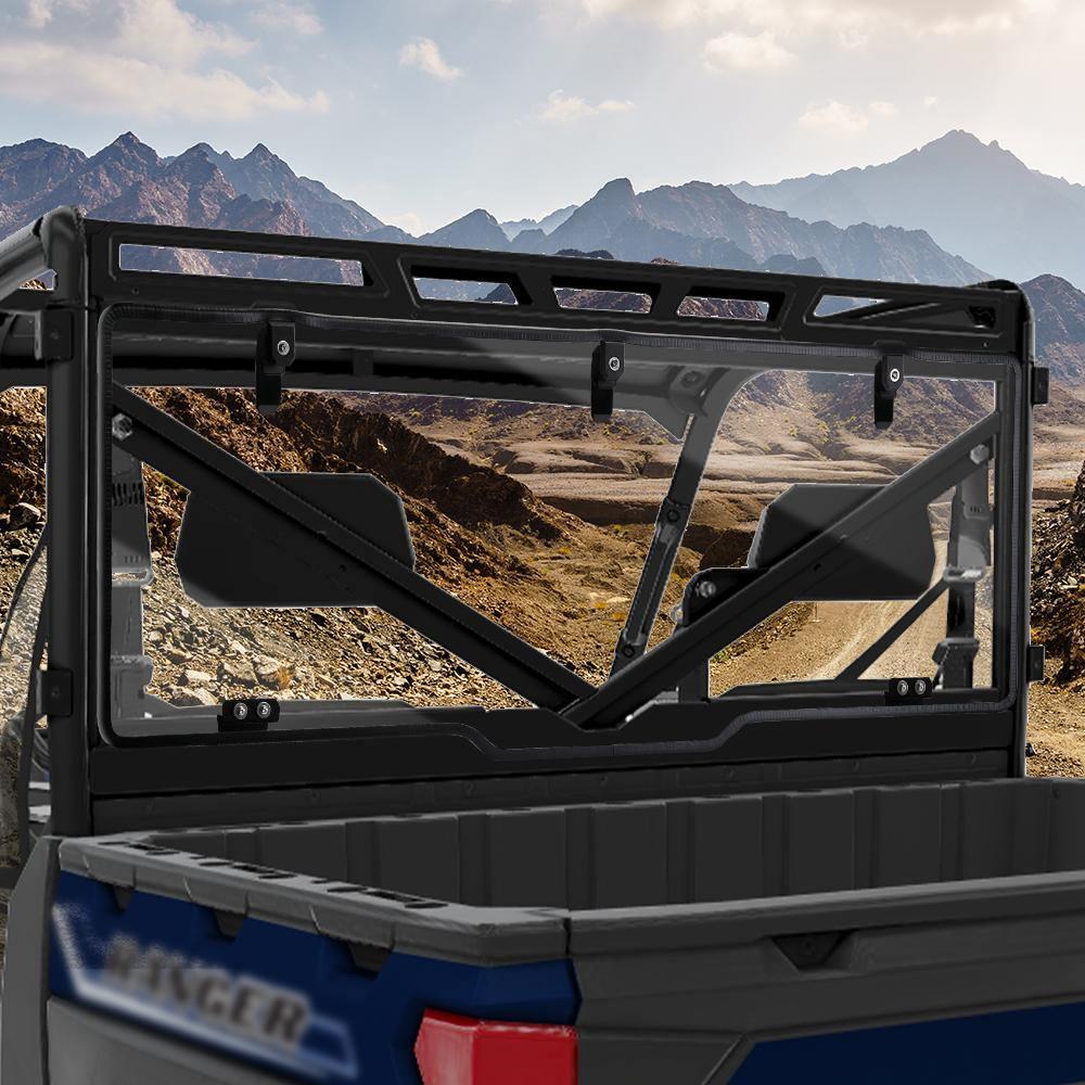Rear Windshield Compatible with 2017-2020 Polaris Ranger XP 1000 / Crew - Kemimoto