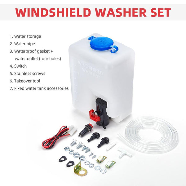 1.5L Universal Car Windshield Washer Pump Reservoir Bottle Kit - Kemimoto