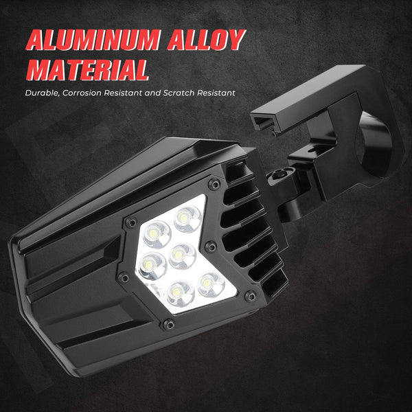 "Universal UTV LED Light Mirror (New design) Fits 1.5"" - 2"" Roll Bars - KEMIMOTO"