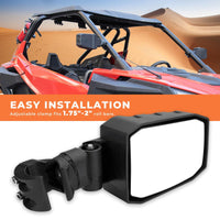 "UTV Adjustable Rear View Side Mirror for 1.75"" to 2"" Roll Bar Cage - KEMIMOTO"