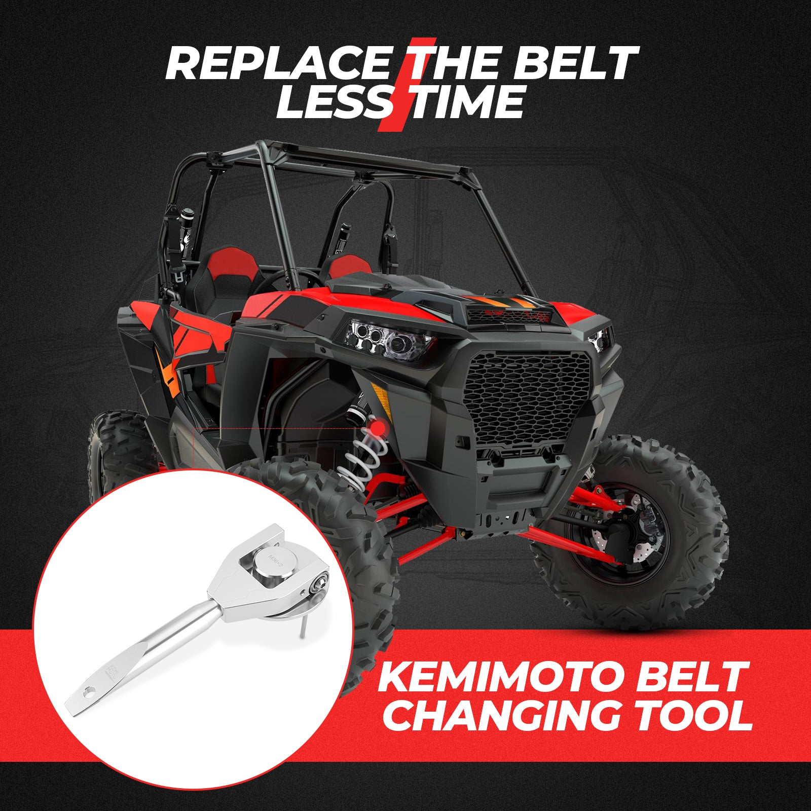 Belt Changing Tool Clutch Removal Kit Compatible with Polaris RZR XP Turbo/s RS1 - KEMIMOTO